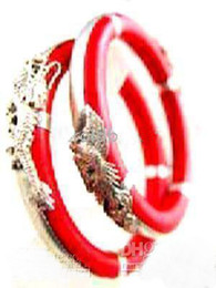 Dragon Phoenix Rouge Pas Cher-Tibet Silver A Paire corail rouge Dragon Phoenix Bangle