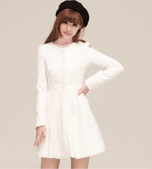 White Women Woolen Winter Lace Dress Style Long Jacket Coat ...