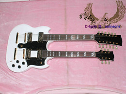 Wholesale Double Neck Oem - Custom Shop White 1275 Double Neck 6 12 Strings Electric Guitar OEM Available Free Shipping #65
