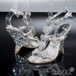 Wholesale Sandals Bridal Open Toe Dress - New Sparkling Dazzing High Heels Beading Peep Toe Prom Evening Party Dress Lady Bridal Wedding Shoes