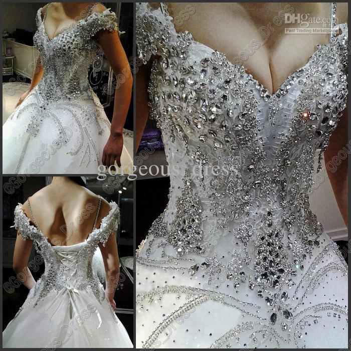 Rhinestones and Lace Wedding Gowns with Sleeves