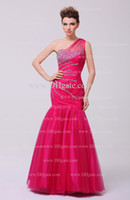 Wholesale Fuschia Red Carpet Dresses - 2015 Sexy Prom Dresses Mermaid Fuschia One Shoulder Beaded Ruched Bodice Real Images Party Dresses Dhyz 01