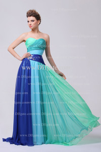 Colorful Prom Dresses 2015 Sweetheart Pleated Bodice Beaded Rhinestones Chiffon Floor Length Evening Dresses on Sale