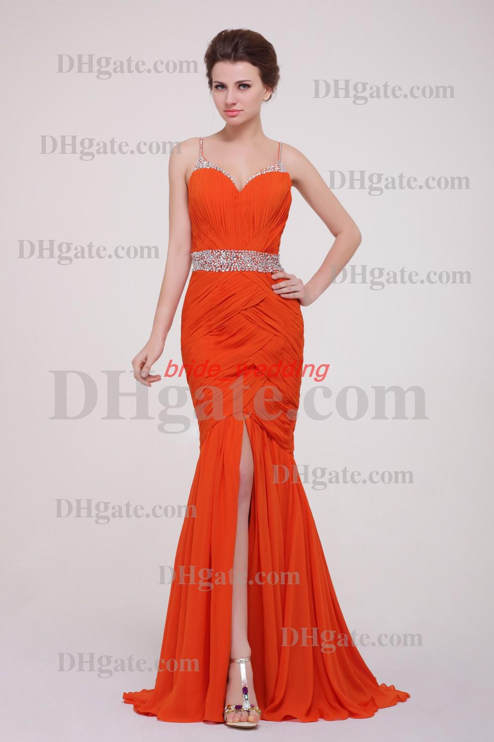 Orange Mermaid Evening Dress Spaghetti Sequins Beaded Front Side ...