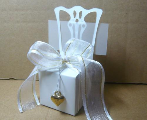 Miniature white chair Wedding candy box with gold accessories 100pcs/lot For Cupcake box Bombonieres