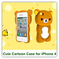 Wholesale Rilakkuma Iphone 4s Cases - Wholesale Cute 3D Rilakkuma Pattern Soft Silicone Cover Case for iPhone 4 4s 10pcs lot
