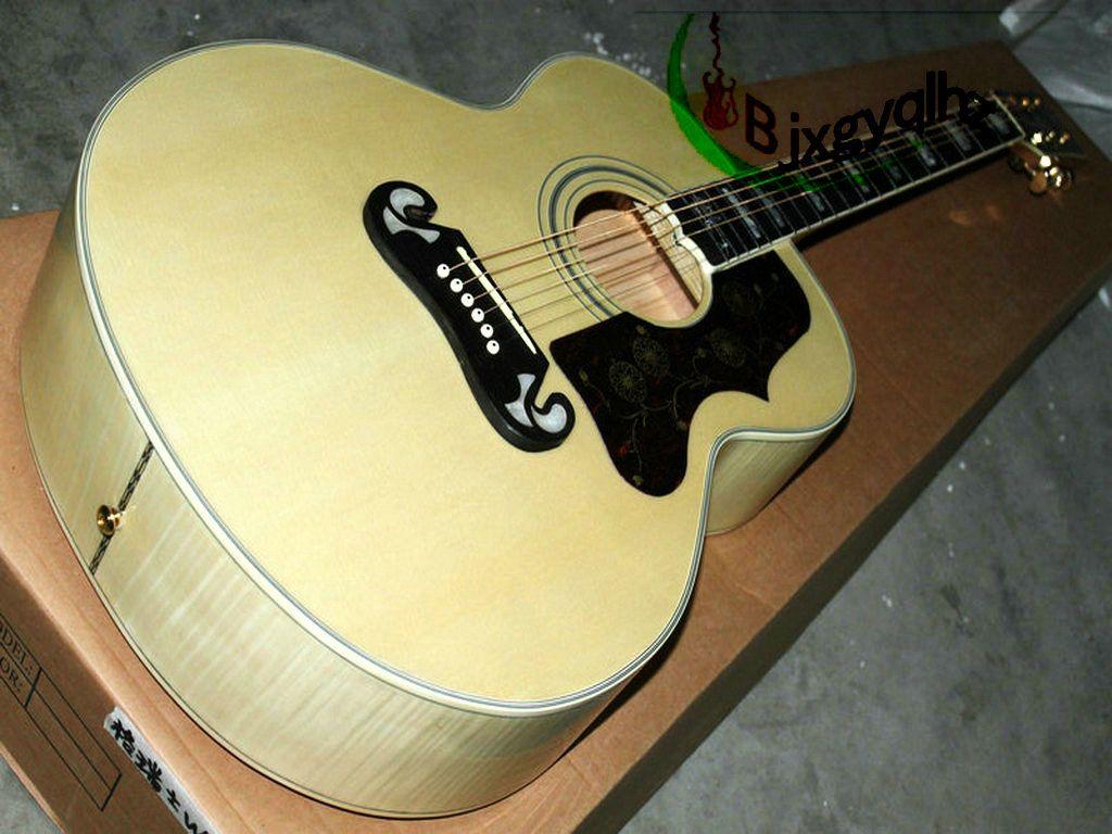 Custom Shop 200 Acoustic Guitar Natural Color China Factory Beginner ...