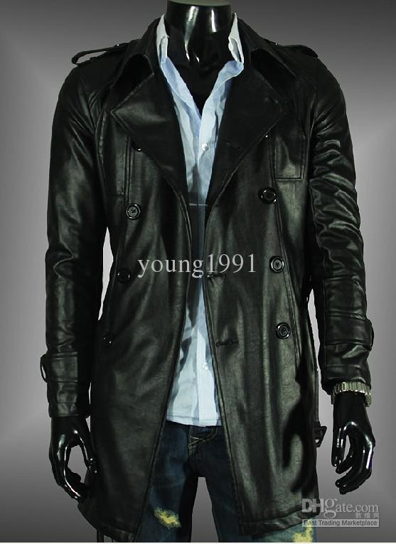 2018 New Black Fashion Men'S Slim Fit Artiicial Leather Trench ...