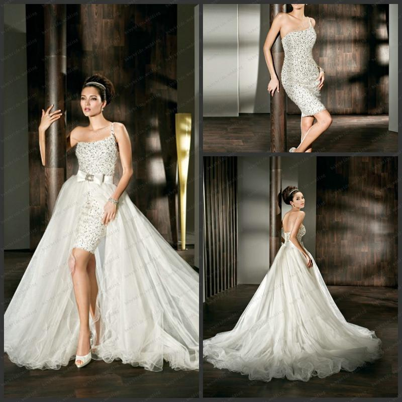 2013 Wedding Gowns Detachable Train: Discount 2013 Two Pieces Wedding Dresses One Shoulder