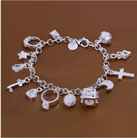 Wholesale Brass Cross Charms - DSSB-066,hotwomen's 925 sterling silver bracelet,925 silver bracelet jewelry,6pcs lot