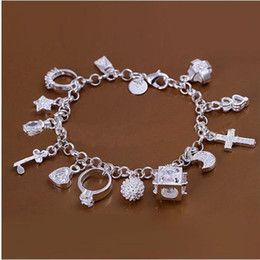 Wholesale Indian Charms - DSSB-066,hotwomen's 925 sterling silver bracelet,925 silver bracelet jewelry,6pcs lot