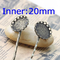 Wholesale Hair Clip Brooch Pin Backings - 20mm Vintage Antique Bronze Copper Lace Tray Pad Base Brooches Hair Pins Clips Back DIY Jewelry Find