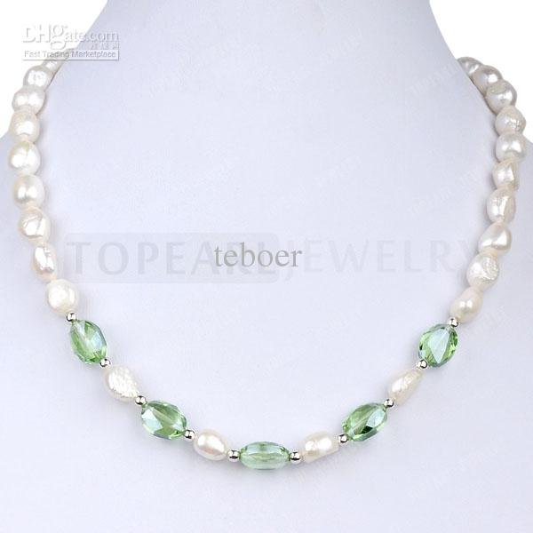 Free shipping!8-9mm White Freshwater Pearl and Light Green Crystal Necklace 17 Inch ND12863