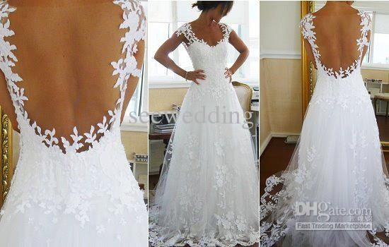 Custom Latest Charming Sexy V Neck Backless Wedding Dresses 2016 Lace Bridal Wedding Gowns Low Price
