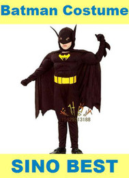 Wholesale Christmas Costumes For Teenage Boys - Free Shipping Best Batman Muscle Costume For Children Kids Zentai Suit Cosplay Party Christmas Halloween New Year Gifts For Boys Child