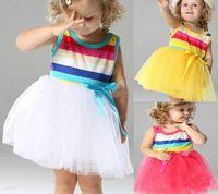 Wholesale Girls Rainbow Yarn Dress - 2017 Summer Girl's Rainbow Dresses Baby Dresses Children Skirts girl Bow Wide Stripe Tutu yarn Dresses
