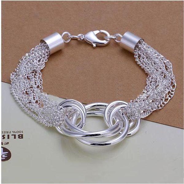 best selling Free shipping women's 925 sterling silver bracelet,925 silver chains link bracelet jewelry 6pcs lot,DSSB-072