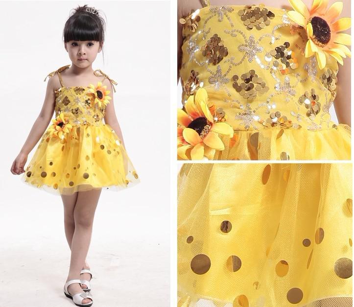 Meisjes lozined jurk prestaties kinderen kostuums meisjes dans rok