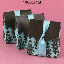 Wholesale Turquoise Wedding Favor Boxes - TOP wedding favors supplier Turquoise and Brown Flourish Wedding Favor Boxes For Bombonieres 100pcs