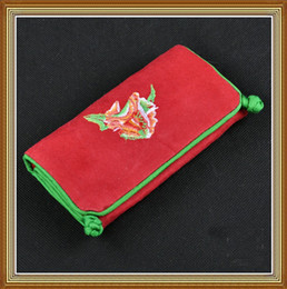 Wholesale Suede Pouches - Suede Leather Folding Embroidered Jewelry Roll Up Travel Bag Storage Bags High quality 2 Zipper Pouch Ring Hanging Pack 5pcs lot Free shipp