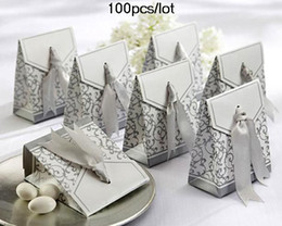 Wholesale Silver Boxes For Wedding Favors - Silver Ribbon Favor boxes For Wedding Cake boxes Candy box 100pcs lot bridal shower favors