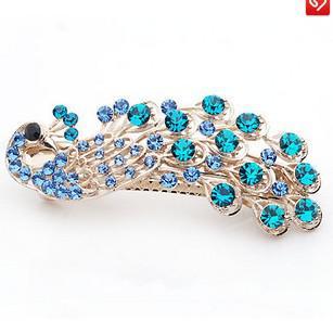 Nieuwe Dames Crystal Peacock Hiarpin Haar Barrette Clip Voor Vrouwen Crystal Haaraccessoires Mode Crystal Haar Sieraden Haarklemmen PW1
