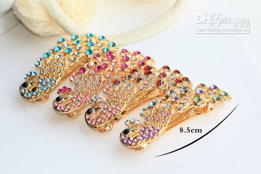 Nya damer kristall påfågel hiarpin hår barrette klipp för kvinnor kristall hår tillbehör mode kristall hår smycken hårklipp pw1