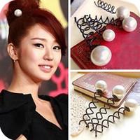 Wholesale Hairpins Pick - Hot Sale Fashion hairpin 50Pcs Big Pearl Black Metal Spiral Hair pin Clip Pick Barrette