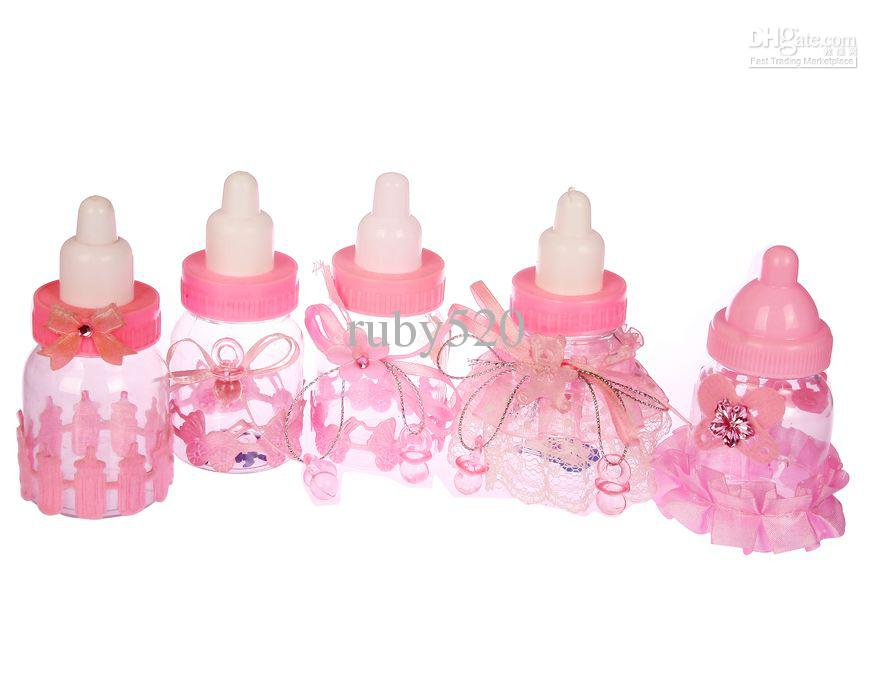 Baby Shower Favors Little Bottle Baptism Gifts Candy Box Pink Feeding Bottle