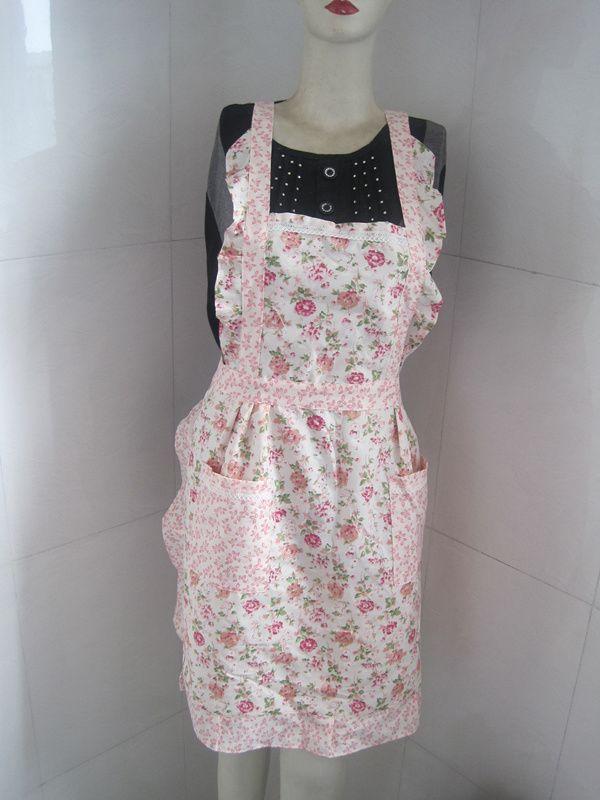 Ladyu0027s Retro Style Flower Pattern With Pocket Cotton Kitchen Cooking ,  Baking Apron Part 41