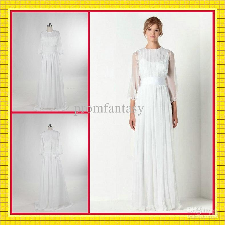 Chiffon white dresses with sleeves