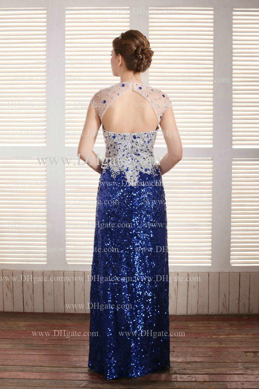 2019 Royal Blue Floor Lengte Backless Pailletten Shining Beaded Prom Avondjurken Ed111