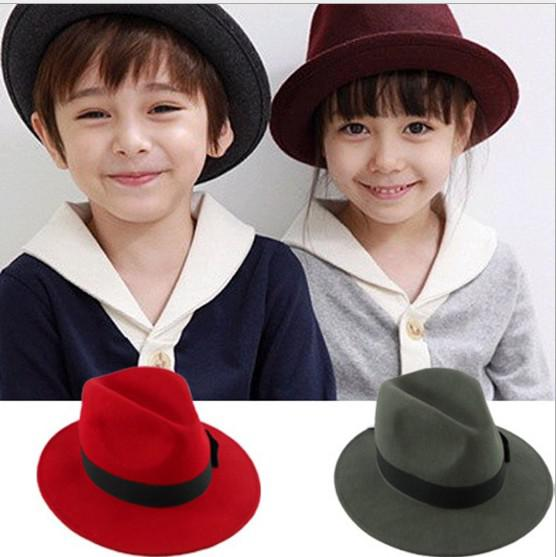 Fashionable Girl Cap Kid Felt Hat Plain Weave Barn Cap Höst Baby Tillbehör 2013 Boy Hat