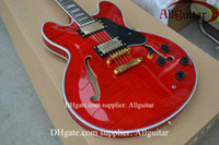 Wholesale Hollow Body Jazz Guitars - Free Shipping Top quality custom JAZZ Hollow RED electric guitar Musical Instruments