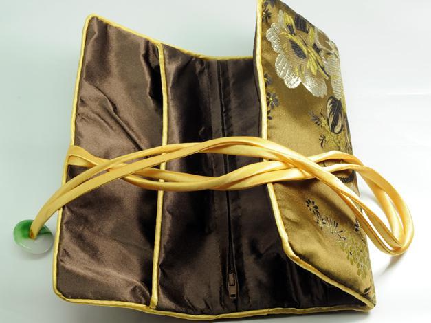 Sacchetto di immagazzinaggio di trucco delle donne del cordone del sacchetto del sacchetto cosmetico cinese del sacchetto del rotolo del broccato di seta del tasto portatile del braccialetto /