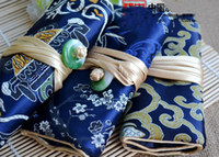 Wholesale Silk Travel Jewelry Rolls - Jade Button Cosmetic Jewelry Roll Up Travel Bag for Necklace Bracelet Earring Ring Set Storage Case Silk brocade 3 Zipper Pouch String Bag