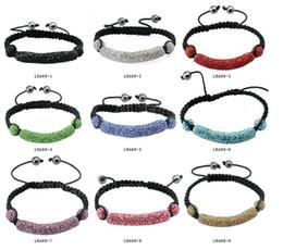 Wholesale Tube Clay Bracelet - shamballa Crystal tube bar disco ball braid bracelet shiny rhinestone jewelry multicolor mix