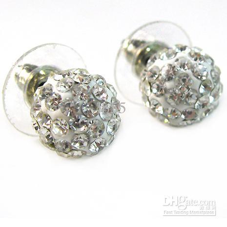 Goedkope gratis verzending Gemengde 240 stks / partij 12 Kleur 10mm Klei Rhinestone Crystal Eearring. Beste studs