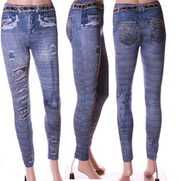 Wholesale Denim Look Tights - New Fashion Thin Women's Copy Denim Look Sexy Skinny Tights Leggings Pants Slim Thin Pop Trousers Feet Autumn Winter
