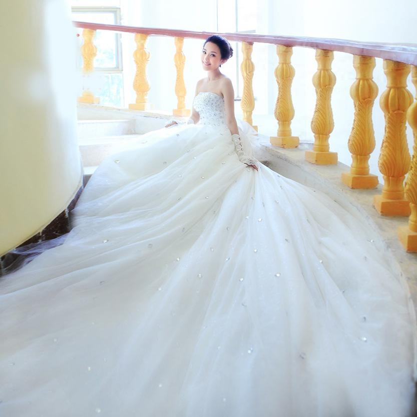Discount Bridal Gowns Strapless Beaded Long Tail Wedding Dresses ...