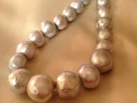 süßwasser zuchtperlen grau großhandel-12-15mm Silber Grau Süßwasser Zuchtperlen Runde Kartoffel Lose Perlen 15 Zoll