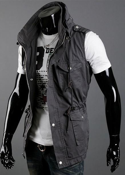 Мода двойной воротник жилеты для мужчин Multi-карман тонкий вскользь Жилет хлопка жилет, бесплатная доставка! 3 цвет