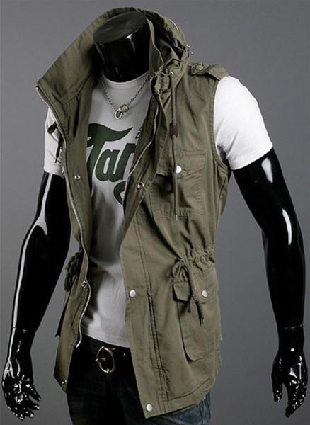 Multi-tasca di modo doppio colletto Gilet casuale sottile Gilet maglia del cotone, trasporto libero! i