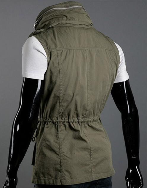 ファッションダブルカラーベストメンズマルチポケットスリムカジュアルベストコットンベスト、送料無料!3色