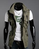 ingrosso maglia escursioni in nero-VENDITA CALDA Gilet doppio collo moda Gilet casual gilet uomo multitasca sottile in cotone, colore! 3
