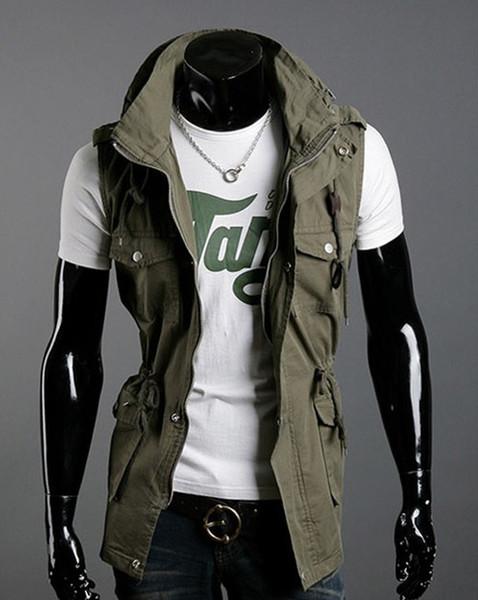 top popular HOT SELL Fashion Double Collar Vests Men's Multi-pocket Slim Casual Vests Cotton vest ,!3 color 2019