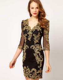 Wholesale Lace Tulle Satin Mini Dress - Gold Embroidery Black Fashion Sexy Sheath Fashion Evening Dresses Party Dress Size: UK 8,10,12,14,16
