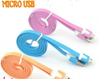 Wholesale Blackberry G3 - V8 v9 Micro usb Noodle Flat Data Sync USB Charging Cable for Samsung S3 S4 note 4 HTC One M8 Blackberry LG G3 nexus 6 Cell phone colorful
