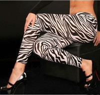 Wholesale Sexy Zebra Tights - fashion women's zebra digital printed leggings street style leggings sexy tights ladies plus size pants slim thin trousers feet