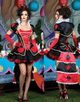 Wholesale Devil Queen Costume - Free shiping 4 pcs Adult Halloween Costume for women Cosplay Limited Edition Queen of Hearts Dress Party outfit H39091